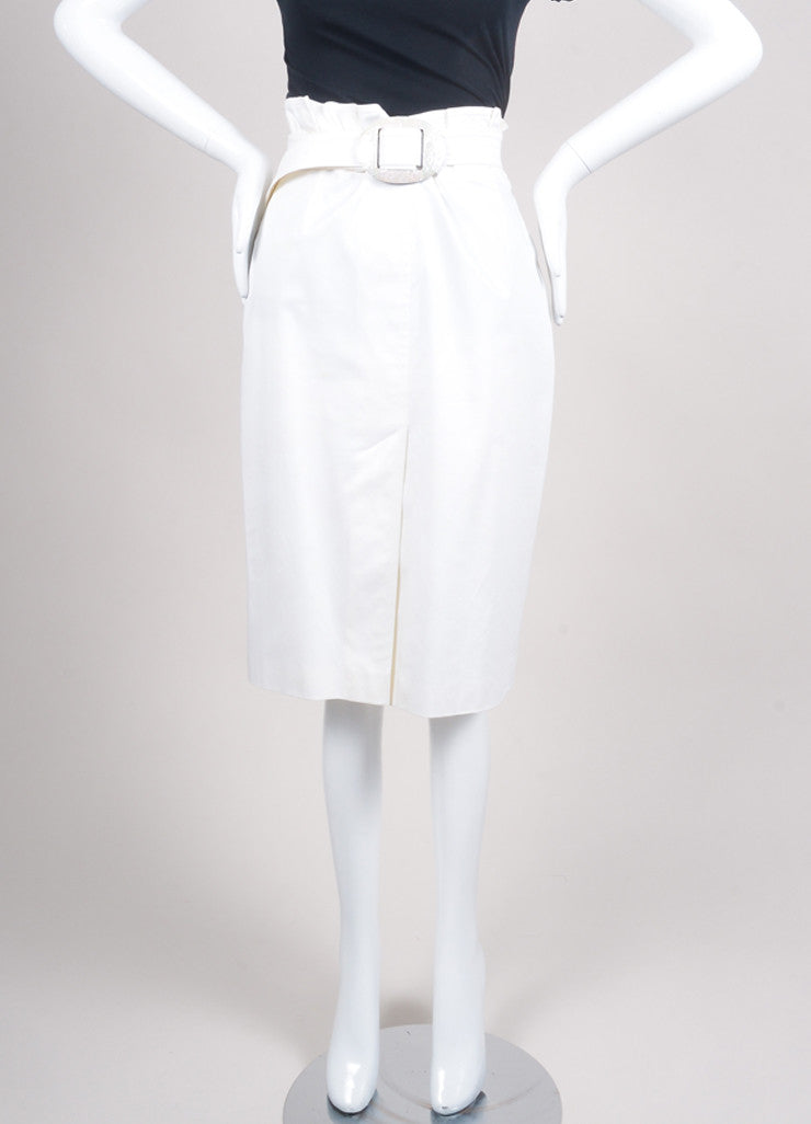 Escada Cream Knit Pleated High Waisted Belted A Line Skirt Frontview