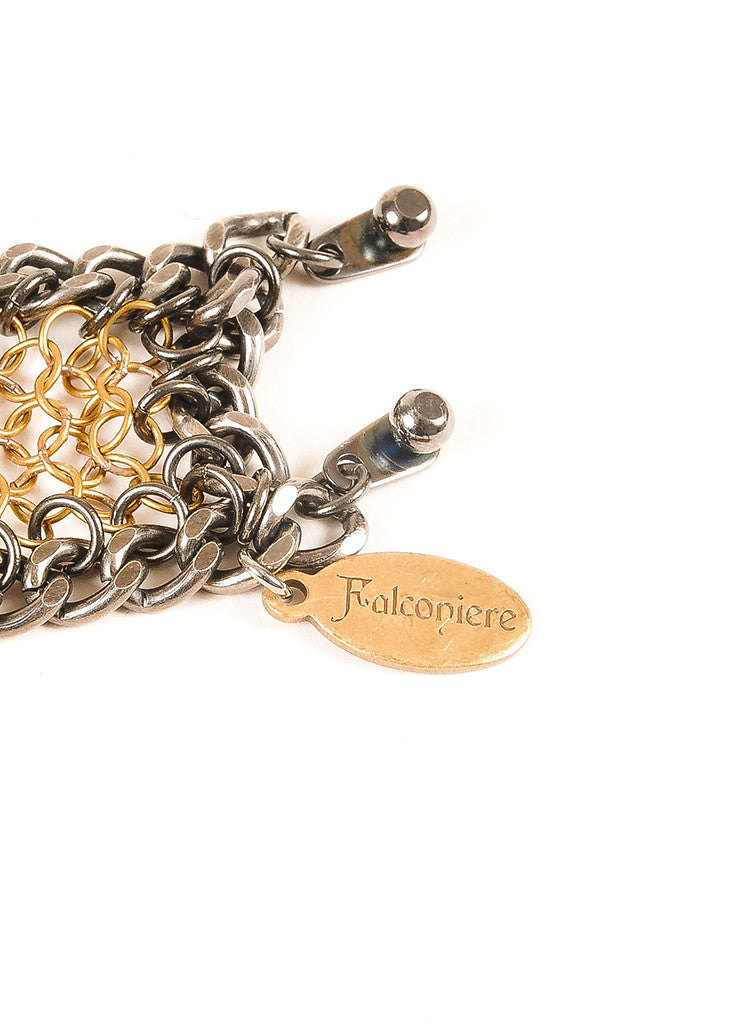 Falconiere New Black and Gold Toned Rhinestone Mesh Flower Bomb Bracelet Brand