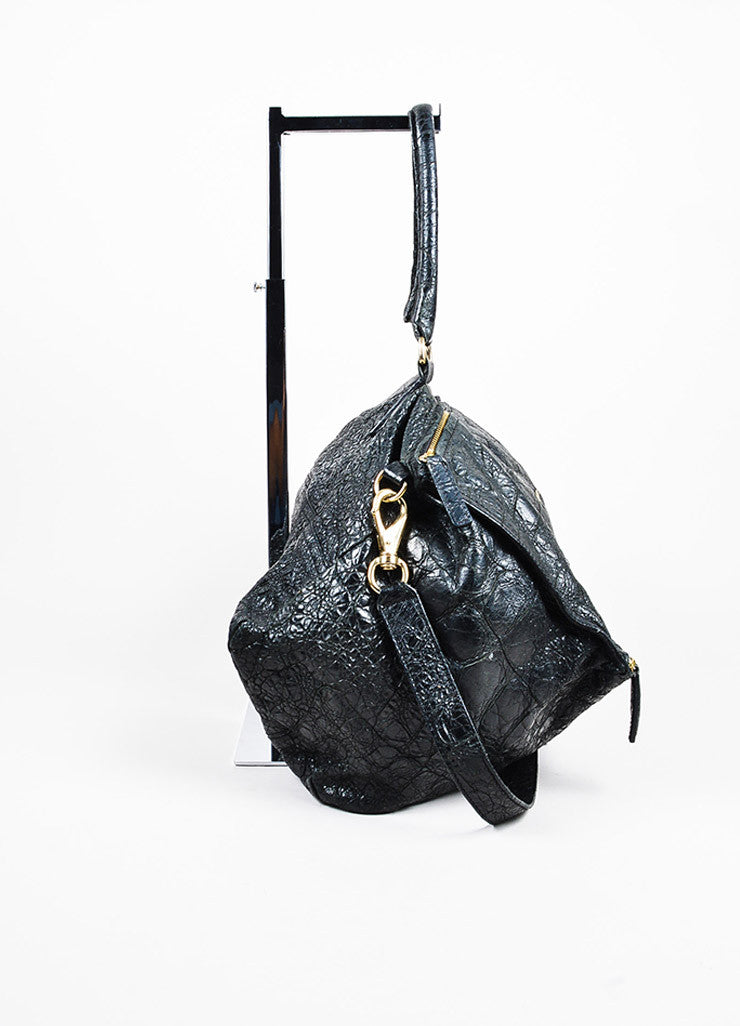 "Givenchy Black Crackled Leather ""Large Pandora"" Bag Sideview"