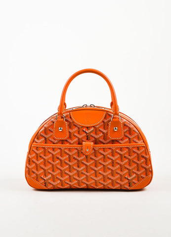 "Goyard Orange Coated Canvas and Leather Chevron Print ""Sainte Jeanne PM"" Satchel Bag Frontview"