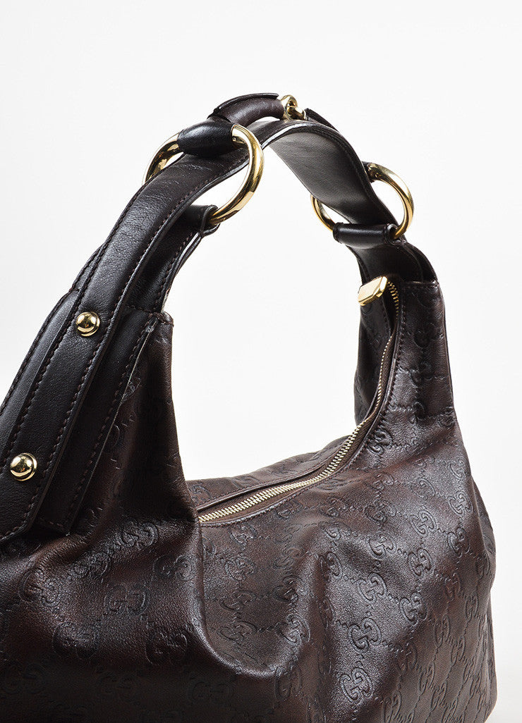 "Brown Gucci ""Guccissima"" Mogogram Leather Medium Horsebit Hobo Bag Detail 2"