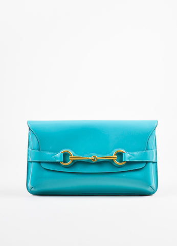 "Gucci Turquoise Patent Leather Gold Toned Horsebit Flap ""Bright Bit"" Clutch Bag Frontview"
