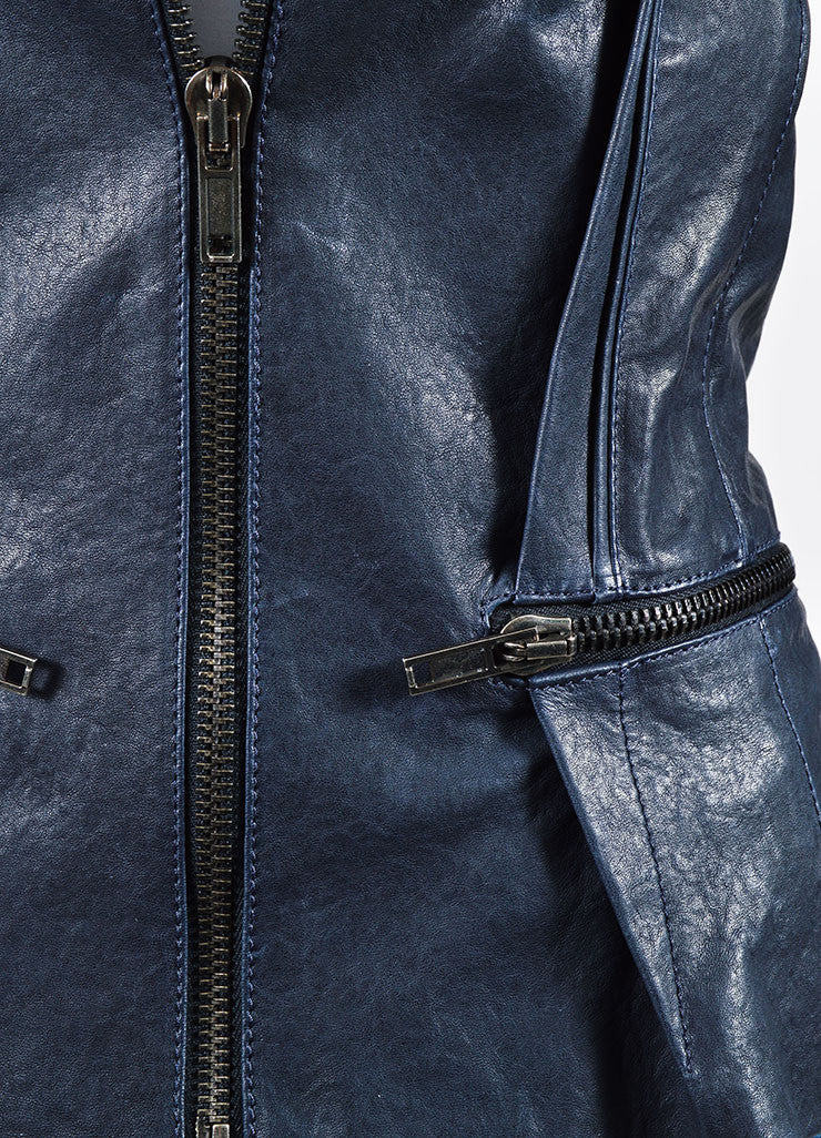 "Navy Haider Ackermann Leather Zipper Tailored ""Athena"" Jacket Detail"