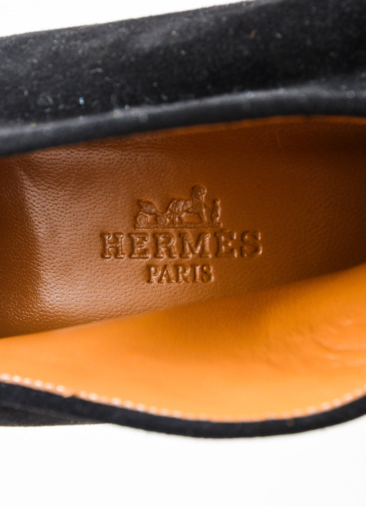 Hermes Black Suede Embroidered Notched Slip On Heeled Booties Brand