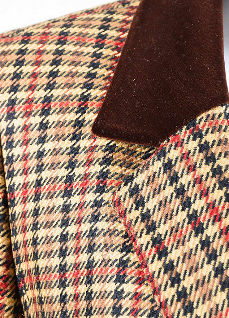 Brown, Black, and Red Hermes Wool and Silk Houndstooth Plaid Blazer Detail