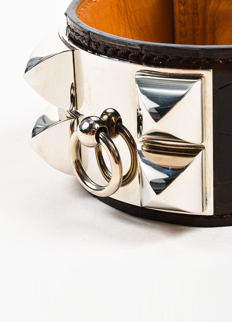 "Brown and Silver Toned Hermes Alligator Leather ""Collier de Chien"" Cuff Bracelet Detail"