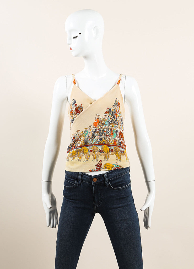 Multicolor Silk Horse and Spectator Print Spaghetti Strap Top