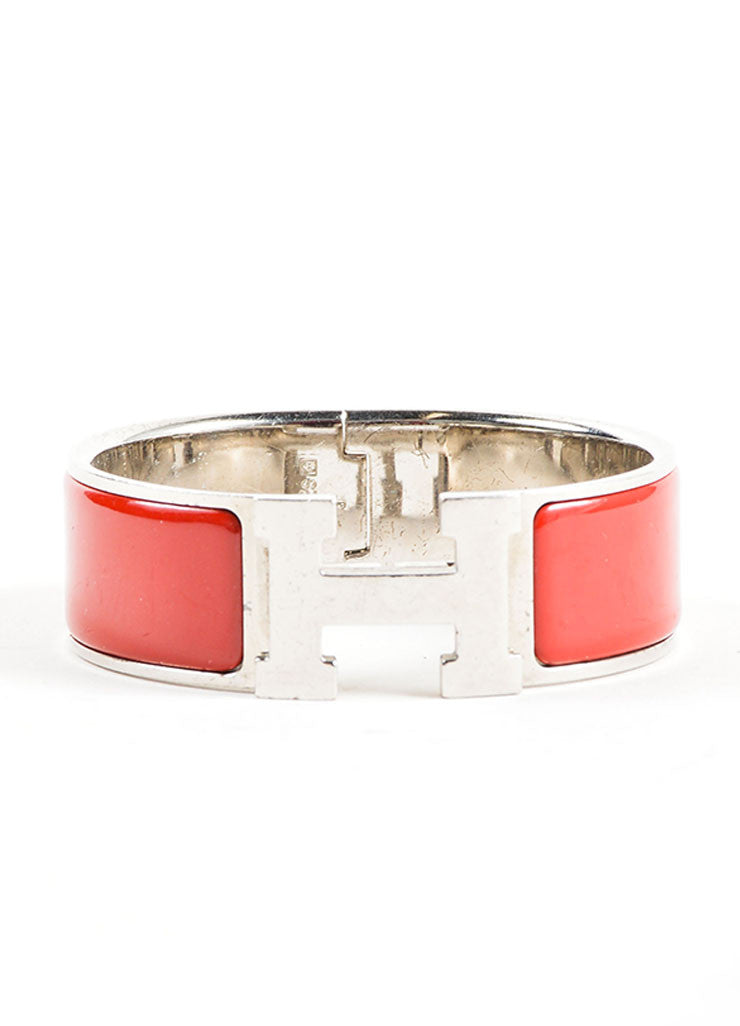 "Hermes Silver Palladium and Red Enameled ""Clic Clac"" H Bangle Bracelet Frontview"