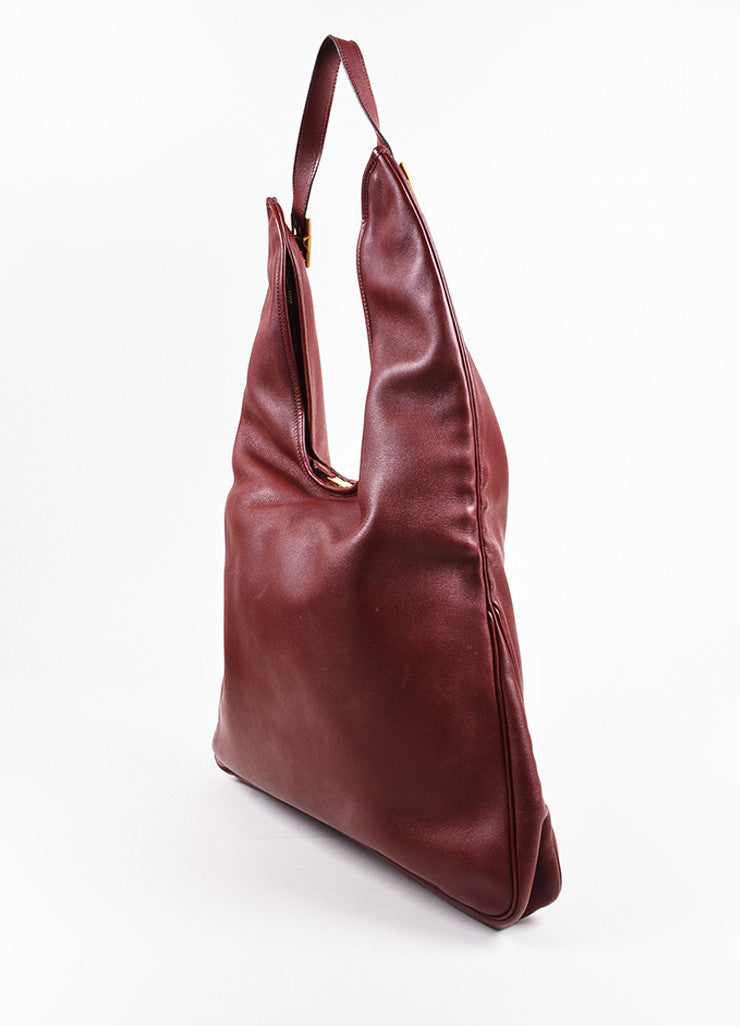 "Hermes ""Sienne"" Red and Gold Toned Leather Buckle ""Massai GM"" Shoulder Hobo Bag Sideview"