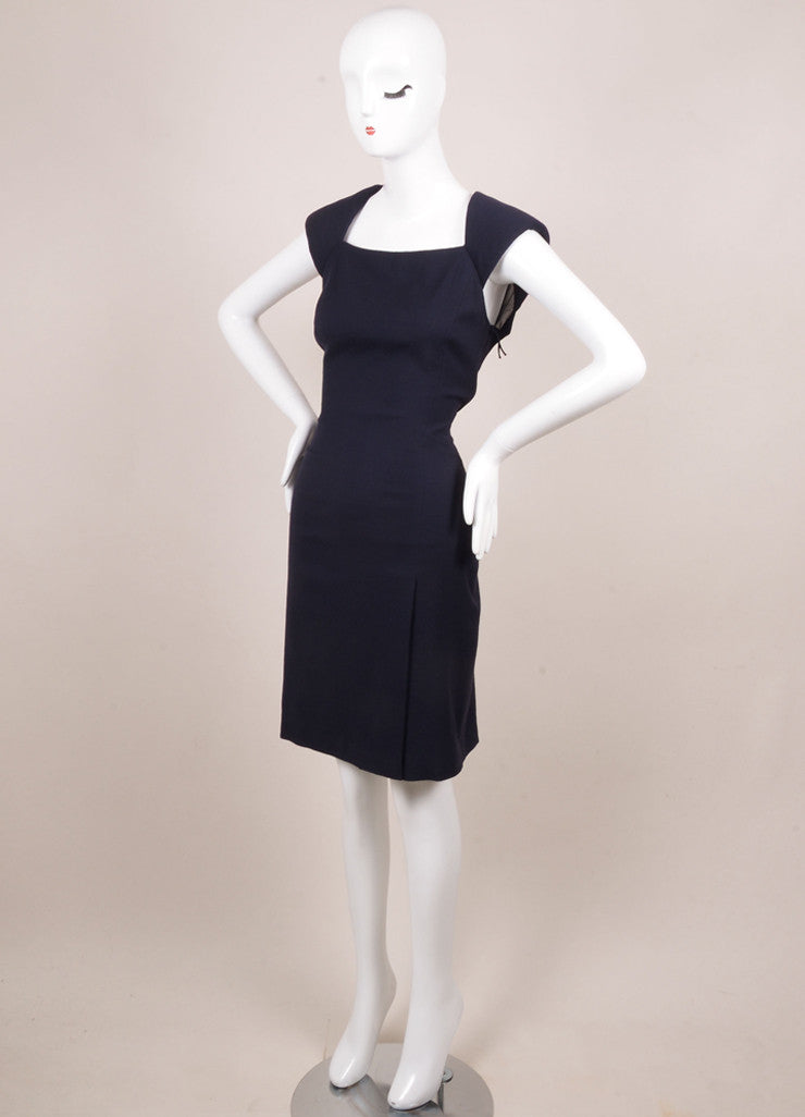 J. Mendel Navy Wool and Sheer Silk Chiffon Sleeveless Dress Sideview