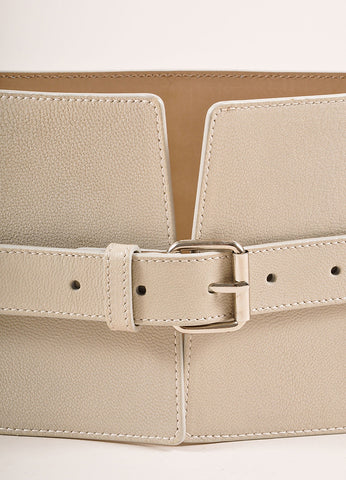 Jean Paul Gaultier Taupe and Grey Leather Wide Buckled Waist Belt Detail