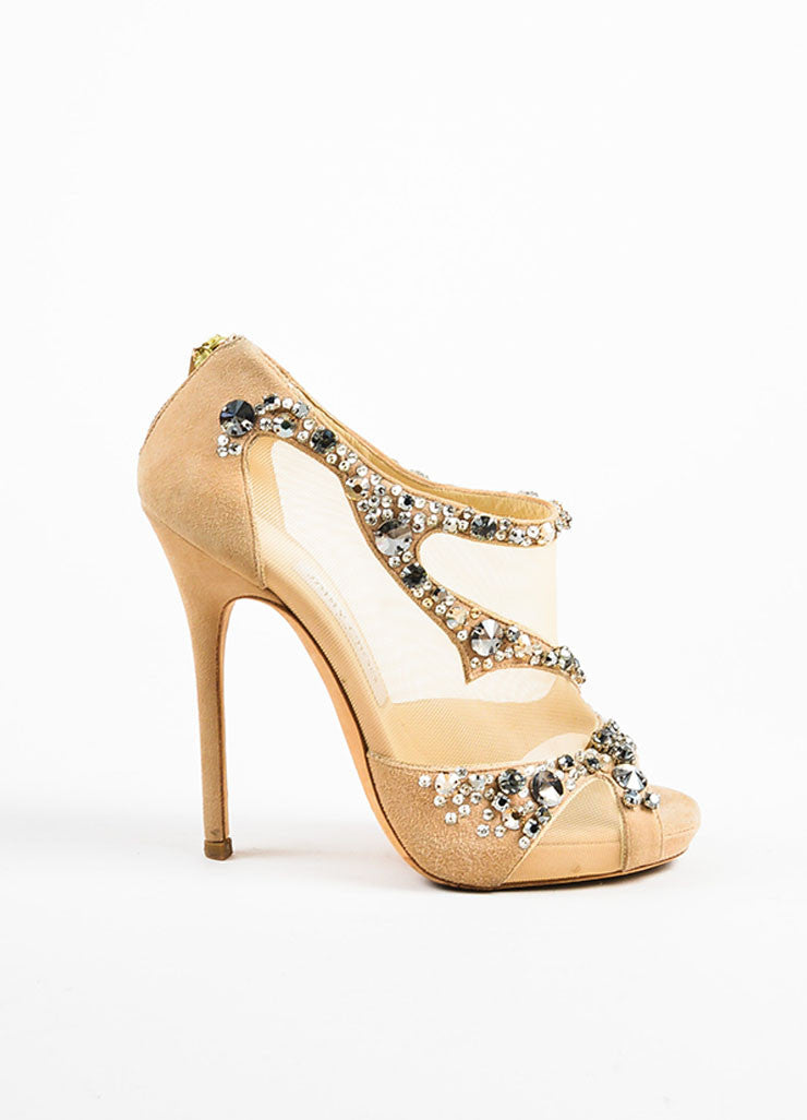 "Jimmy Choo Nude Suede and Mesh Rhinestone Embellished ""Quinze"" Pumps Sideview"