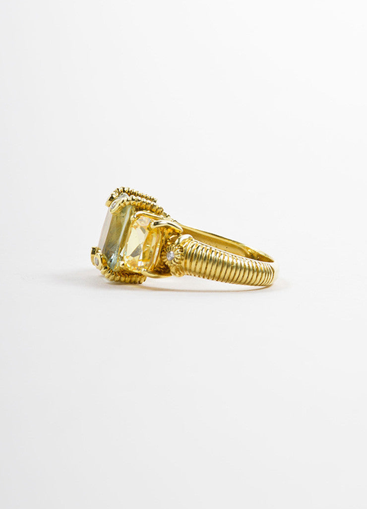 Judith Ripka Gold Toned, Green, and Yellow Quartz Diamond Cocktail Ring Sideview