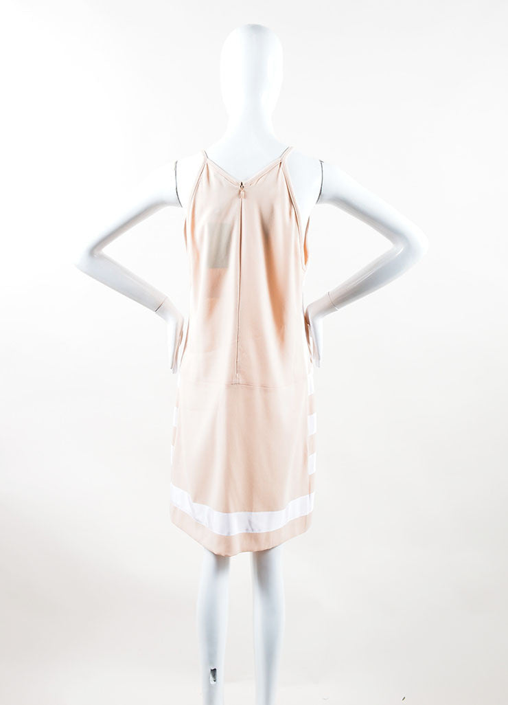 Peach, Nude and White Crepe Ribbon Striped Sleeveless Dress Back