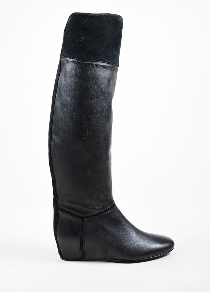 Black Lanvin Leather Suede Concealed Wedge Knee High Boots Sideview