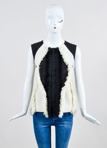 Black and Cream  Lanvin Knit Fringe Sleeveless Top Frontview