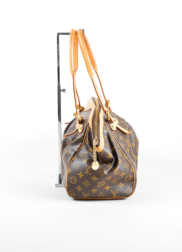 "Louis Vuitton Brown Monogram Canvas Leather Trim ""Tivoli GM"" Shoulder Bag Sideview"