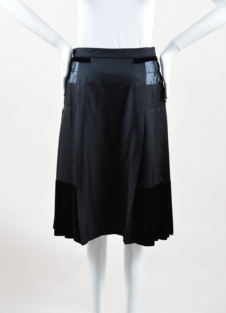 Louis Vuitton Black Silk and Wool Velvet Iridescent Trim Pleated Skirt Frontview