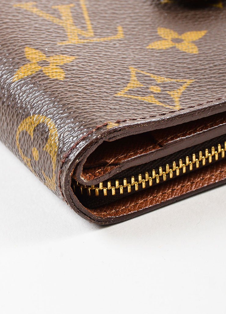 "Louis Vuitton Brown Tan Coated Canvas Monogram ""Compact Zip"" Wallet Detail 2"