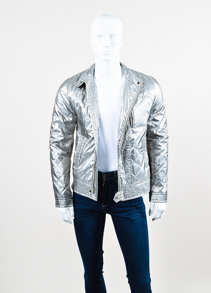 Men's Dolce & Gabbana Metallic Silver Quilted Moto Jacket Front