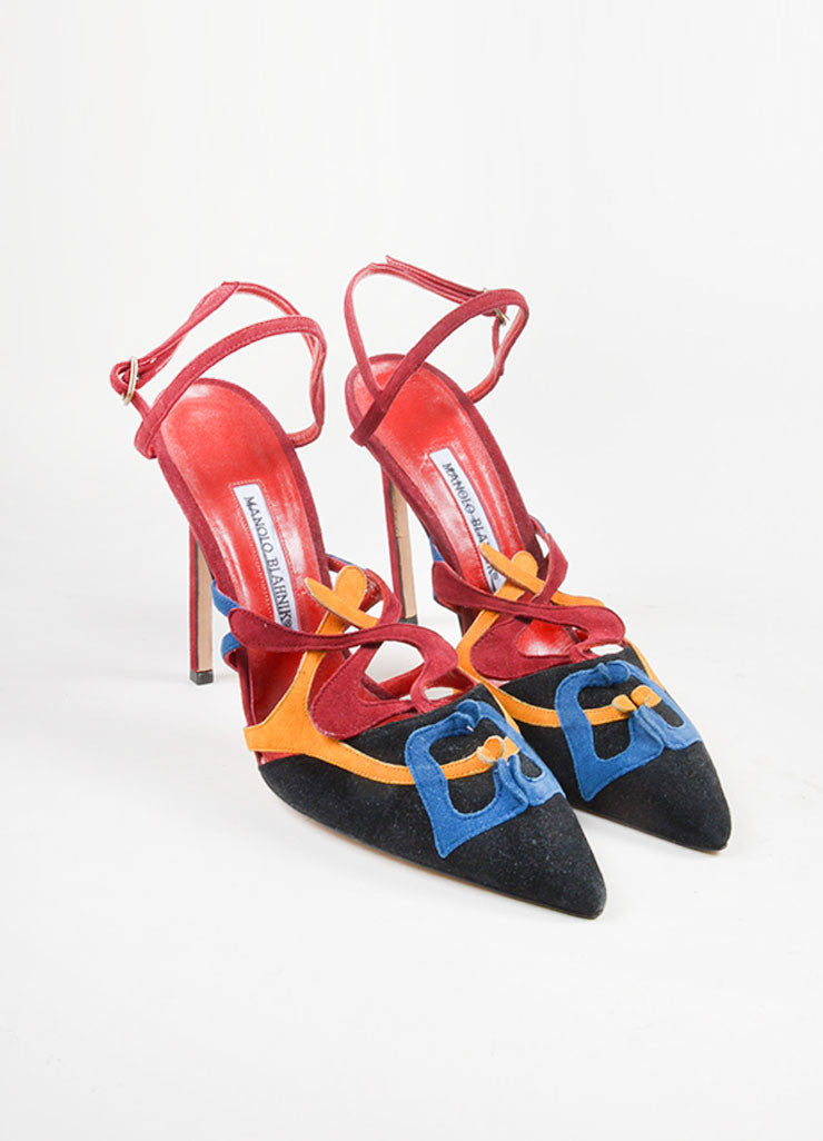 Manolo Blahnik Multicolor Suede Abstract Pointed Toe Slingback Pumps Frontview