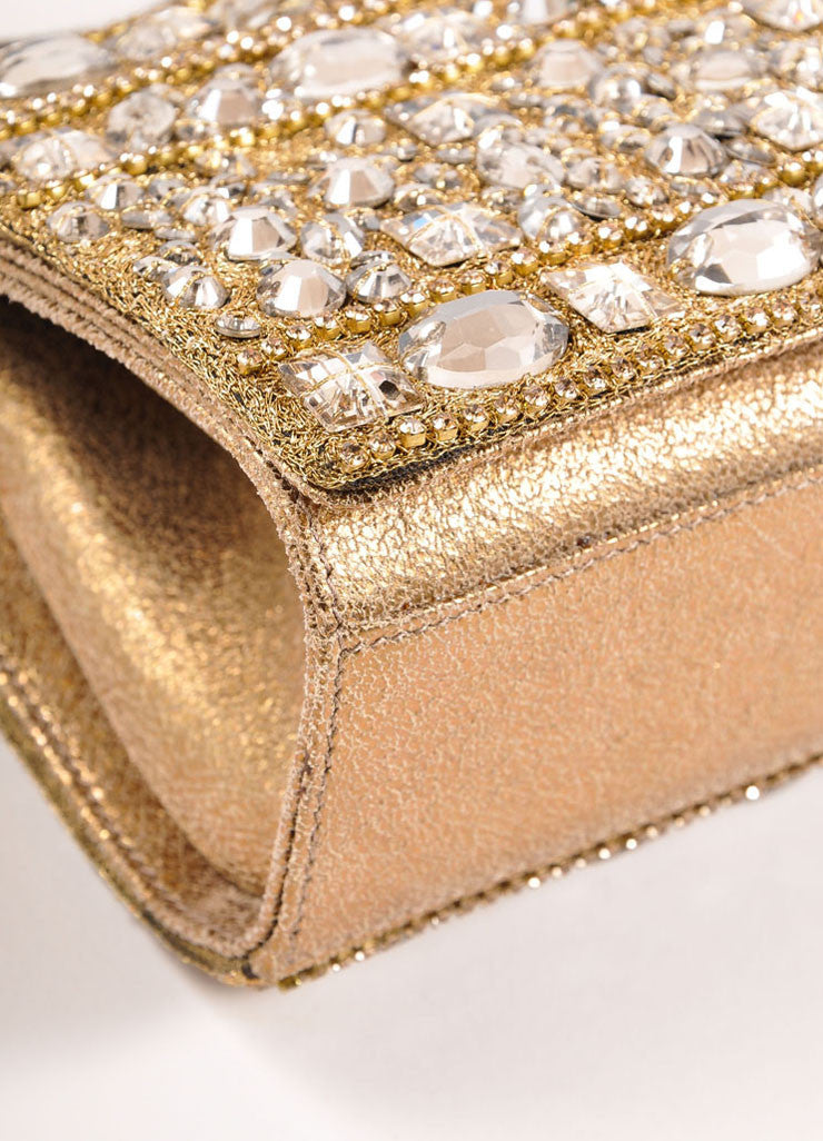 Marchesa Gold Metallic Leather Rhinestone Embellished Clutch Bag Detail