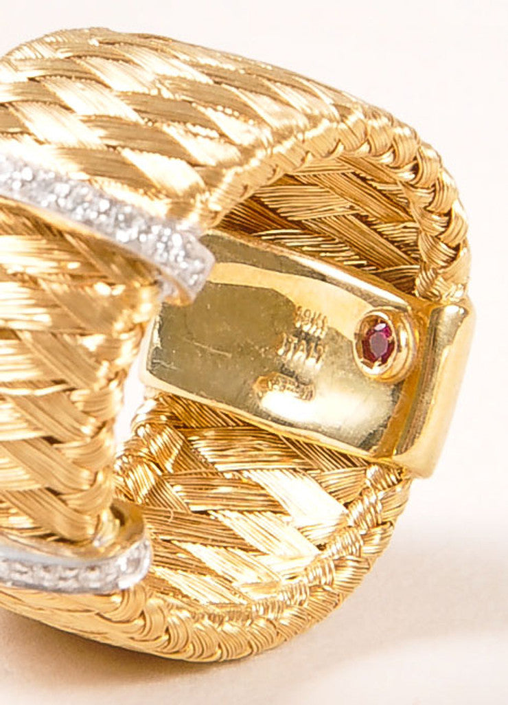 Marco Bicego 18KT Gold Braided Diamond Trim Ring Detail