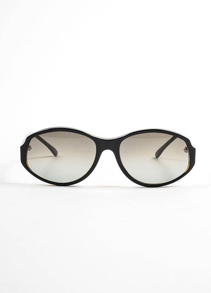 "Marni Black and Grey Tortoise Frame Oval ""MA053S"" Sunglasses Frontview"