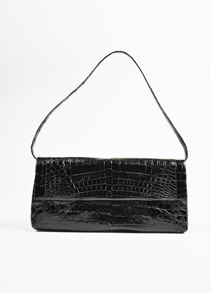 "Nancy Gonzalez Black Crocodile Leather ""Gotham"" Flap Clutch Shoulder Bag Frontview"