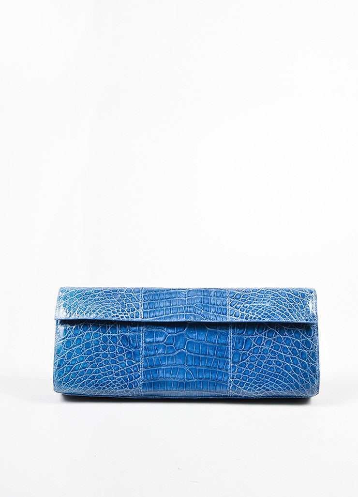 Nancy Gonzalez Dark Blue Crocodile Folded Flap Clutch Bag Frontview