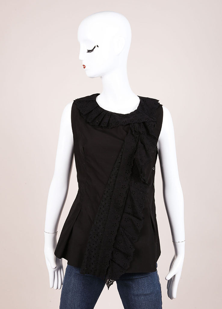 Nina Ricci Black Eyelet Ruffle Trim Sleeveless Cotton Top Frontview
