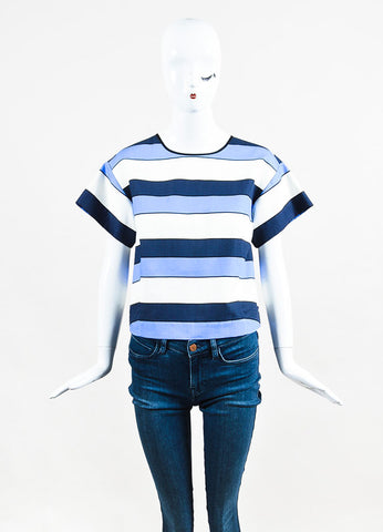 Piazza Sempione Blue and White Linen Striped Short Sleeve Boxy Top Frontview