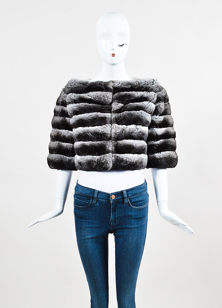 Prada Grey and White Chinchilla Fur Channeled Cropped Short Sleeve Jacket Frontview 2