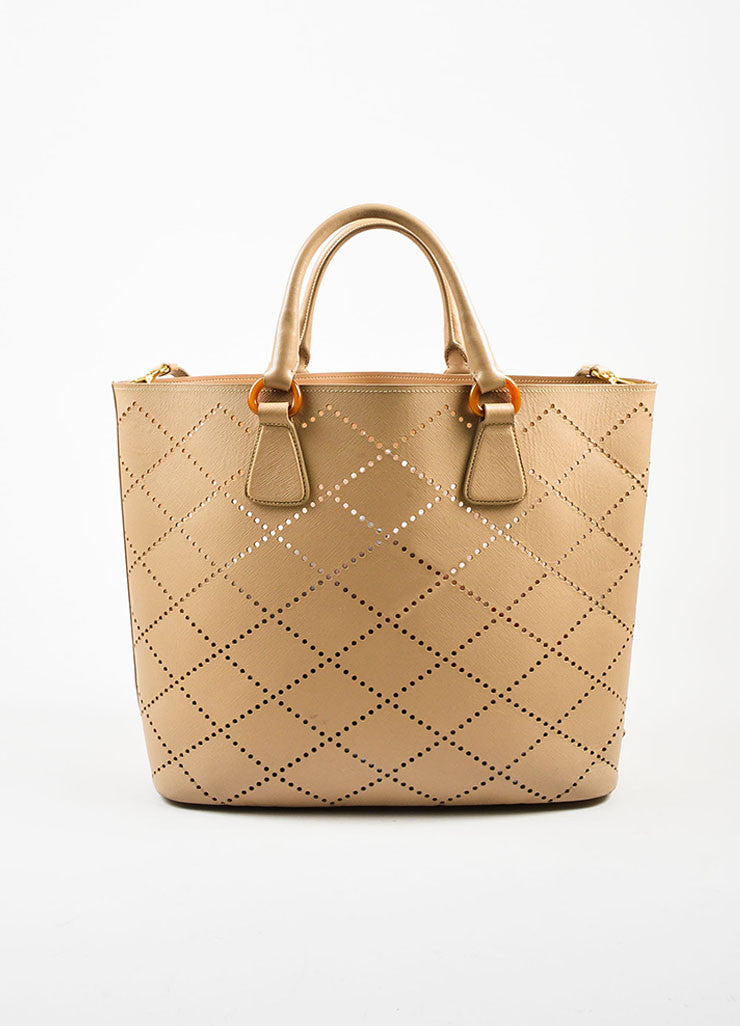"Prada Nude Saffiano Leather Perforated ""Fori"" Tote Bag Frontview"