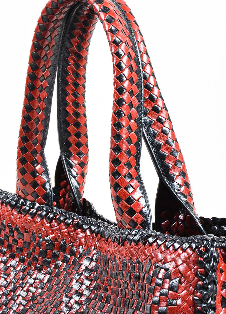 "Prada ""Rubino"" Red and Black Leather Woven Top Handle Cross Body ""Madras"" Satchel Bag Detail 2"