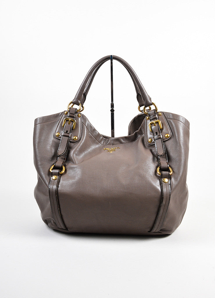 Taupe Prada Leather Bucket Bag Frontview