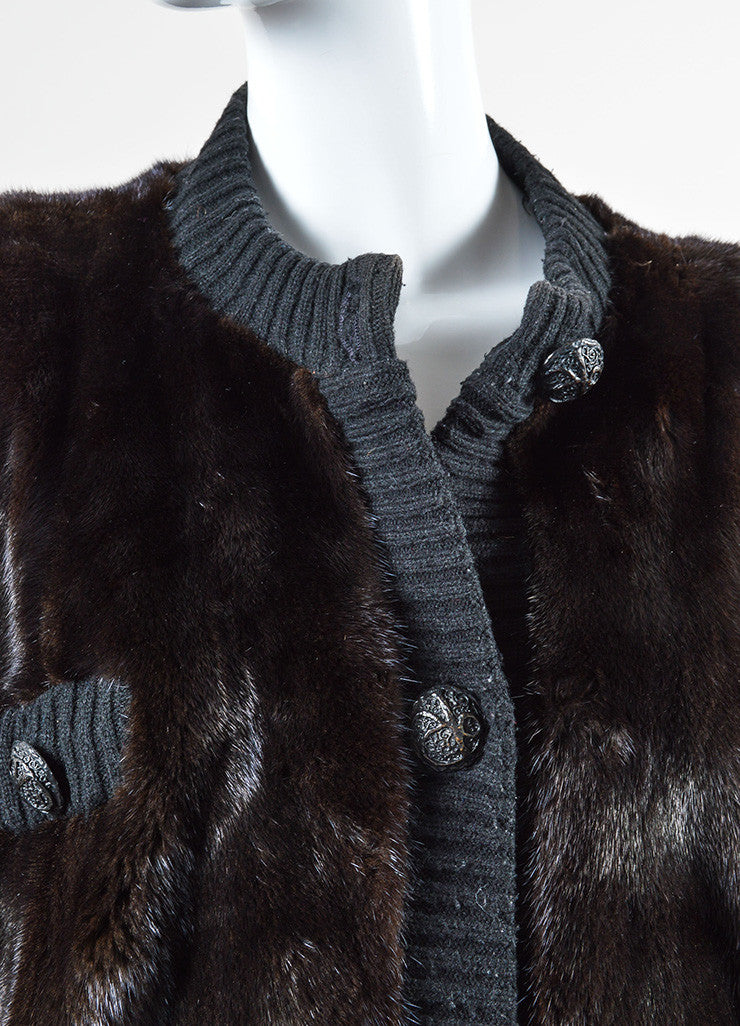 Revillon Dark Brown and Black Fur and Knit Button Down Long Sleeve Oversized Coat Detail