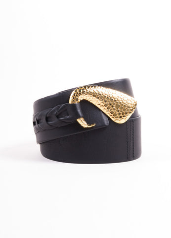 Roberto Cavalli Black Leather Wide Belt with Gold Toned Swirl Buckle Frontview