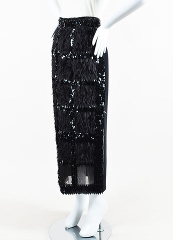 "Roksanda Black Organza Scale Embroidered ""Lawton"" Pencil Skirt Sideview"