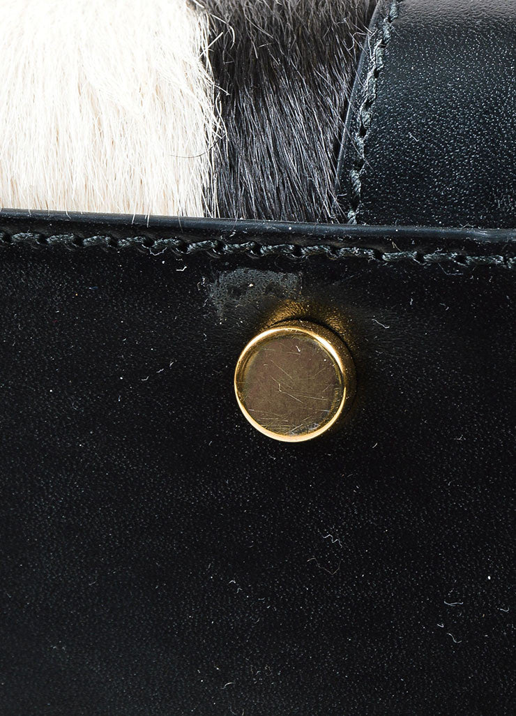 "Black and White Pony Hair Leather Saint Laurent ""Small Sac De Jour"" Tote Bag Detail 2"