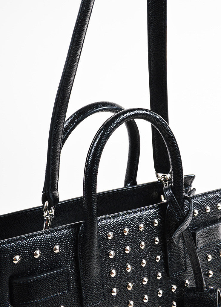 "Saint Laurent Black and Silver Grain Leather ""Nano Sac de Jour"" Bag Detail 2"