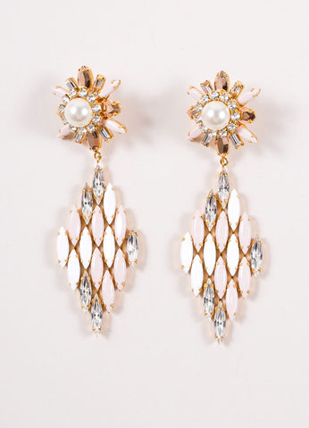 Shourouk White, Pink, and Gold Toned Rhinestone Starburst Diamond Drop Earrings Frontview