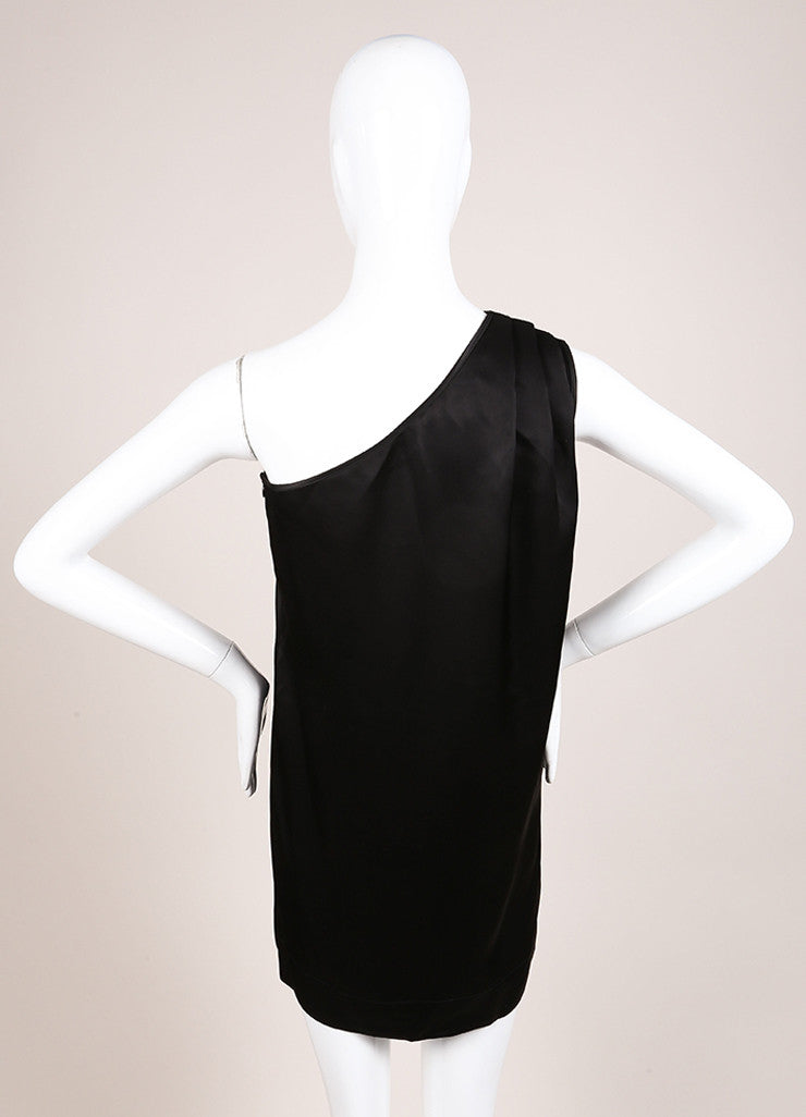 Stella McCartney Black Satin Pleated One Shoulder Tunic Dress Backview