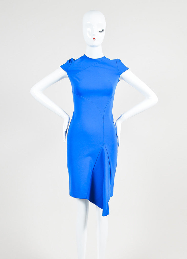 Blue Stella McCartney Stretch Asymmetric Cap Sleeve Dress Frontview