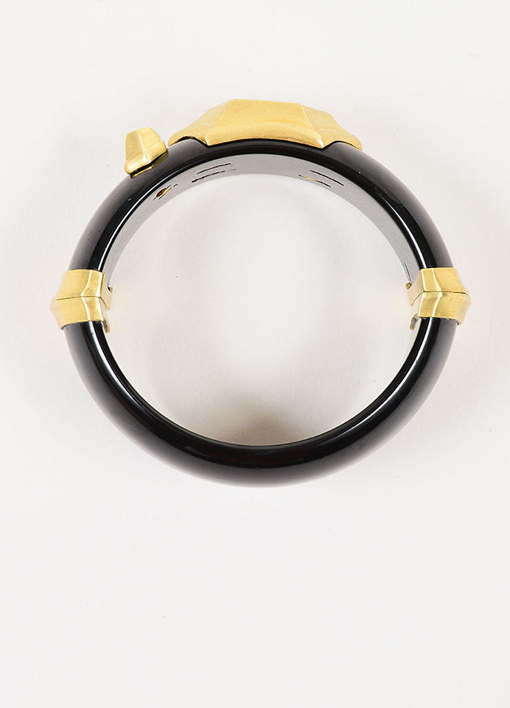 Susan Sadler 18K Gold, Black Bakelite, Rutilated Quartz, and Diamond Bangle Topview