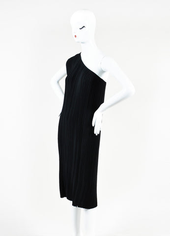 Tome Black Micro Pleat Frayed Hem One Shoulder Dress Sideview