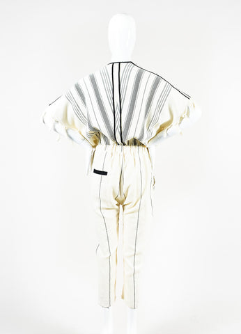 "Koza Cream and Black Cotton Striped and Tasseled ""Merry"" Jumpsuit Backview"