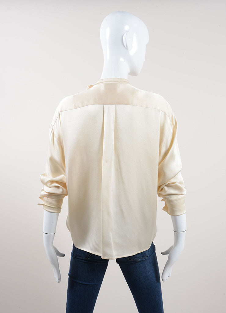 Chanel Cream Silk Satin Button Up Double Breasted Blouse Backview