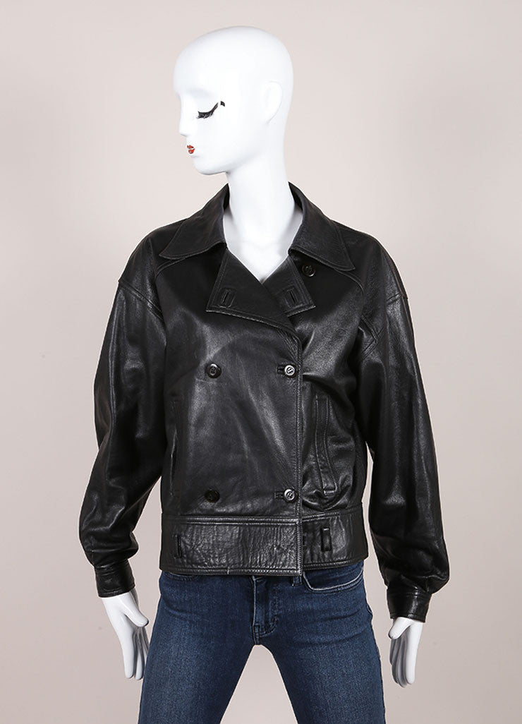 Gucci Black Leather Double Breasted Jacket Frontview