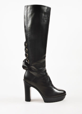 Valentino Garavani Black Leather Corset Detail Lug Sole Tall Boots Sideview